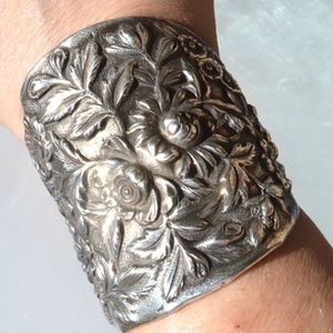 Floral Antique Wide Cuff Bracelet Sterling Silver
